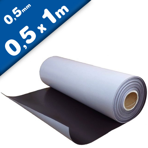 Plain magnetic sheet with self adhesive 0,5mm x 50cm x 100cm