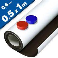 Caoutchouc ferreux blanc mat auto-adhesif 0,6mm x 50cm x 100cm