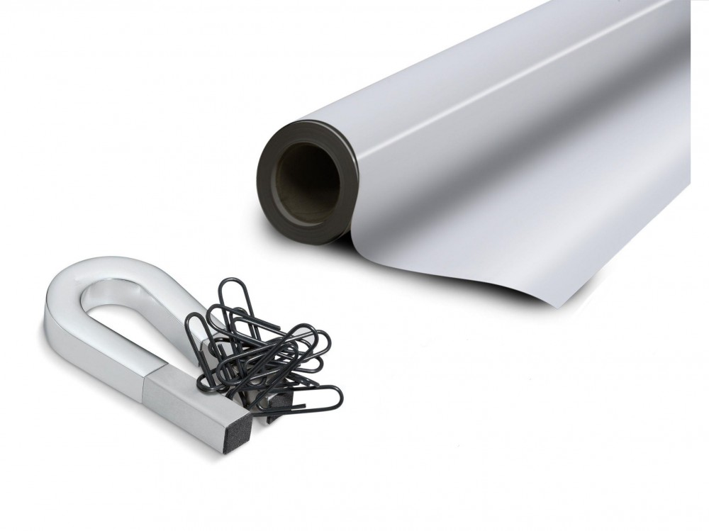 White gloss ferrous sheet with self adhesive 0,6mm x  31cm x  50m
