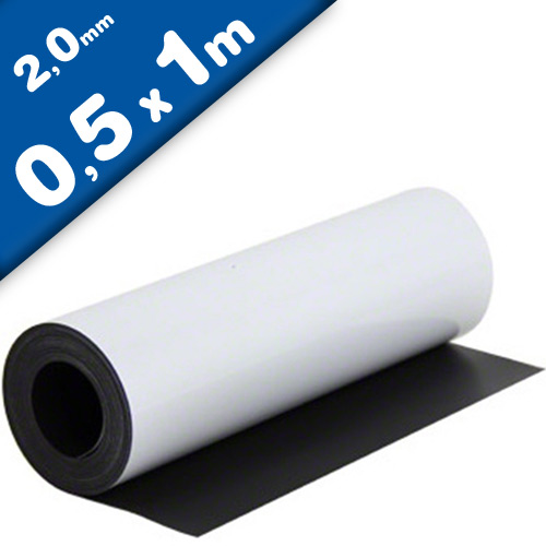 Matte White Vinyl Magnetic Sheet 2mm x 50cm x 100cm - Flexible Magnets