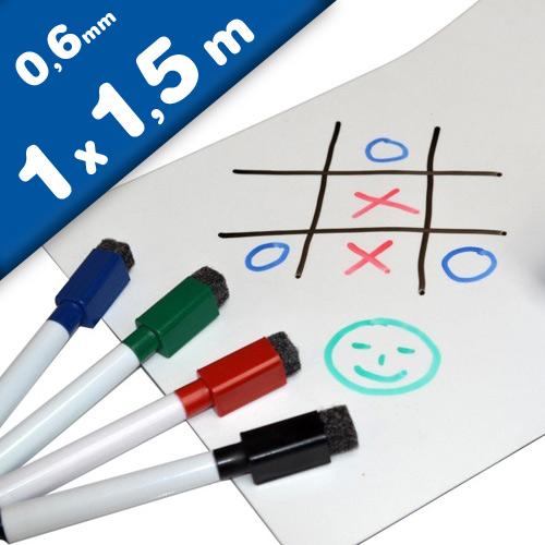 Foglio magnetico bianco, scrivere e cancellare, 0,6mm x 1m x 1,5m