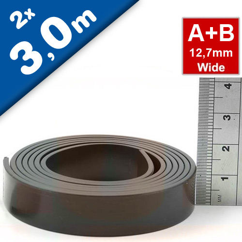 Self Adhesive Magnetic Tape Magnet Strip A & B 1.5mm x 12,7mm x  3m