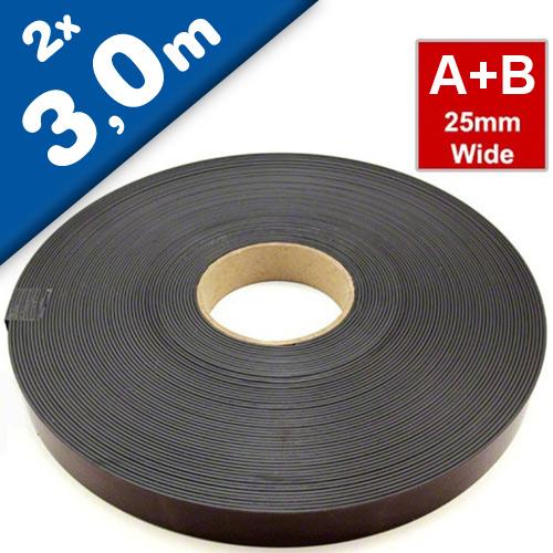 Magnetband Magnetstreifen selbstklebend 1,5mm x 25,4mm x  3m, Typ A + B