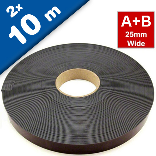 Self Adhesive Magnetic Tape Magnet Strip A & B 1.5mm x 25,4mm x 10m