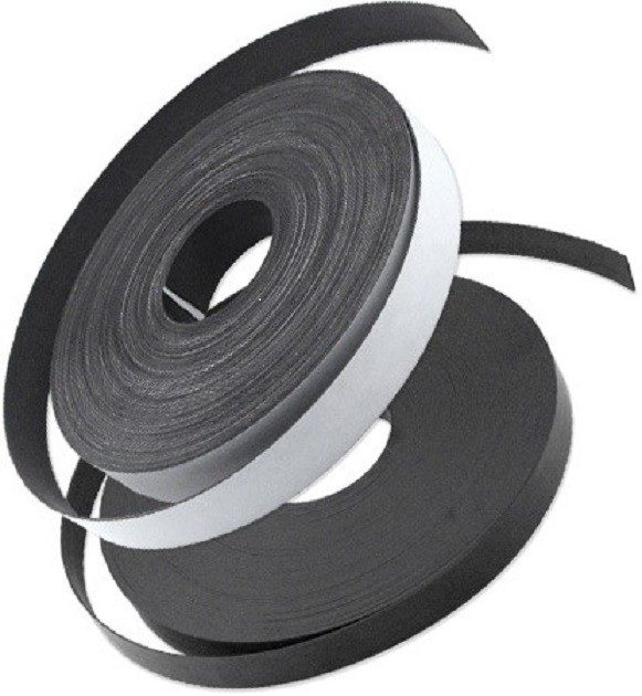 Self Adhesive Magnetic Strip Type A + B, 1,5 mm x (25,4mm + 12,7mm) x 10m