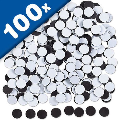100 x Self Adhesive Magnetic Dots 0,9mm x Ø 16mm - 100 pieces - pull 80 g/cm²