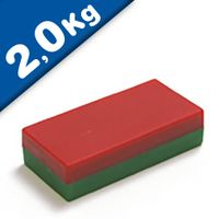 Parallelepipedo magnetico rosso-verde 50 x 30 x 10mm Ferrite Y35