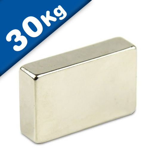 Block Magnet 40 x 30 x 10mm Neodymium N42 (Rare Earth), Nickel - pull 30 kg