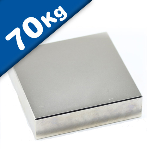 Aimant rectangulaire Bloc 50 x 50 x 10mm Néodyme N45, Nickelé - Force 70 kg