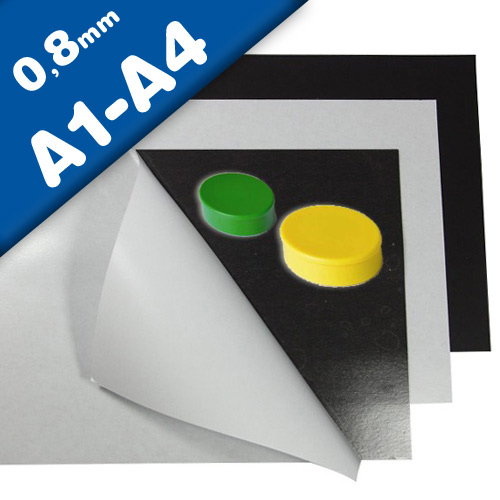Self adhesive white matt ferrous sheet 0,8mm x 210 x 297mm A Format, A1-A4