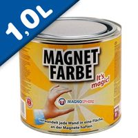 Magnetic Paint / Magnetic receptive wall paint - 1000 ml Tin attracts magnets!