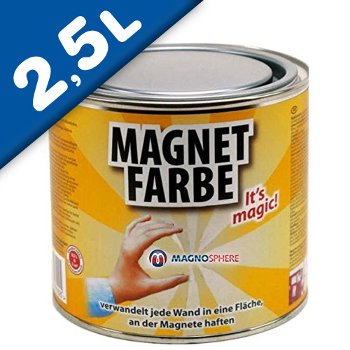 Magnetic Paint / Magnetic receptive wall paint - 2500 ml Tin attracts magnets!