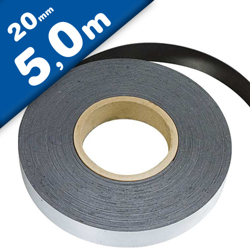 Plain ferrous strip/tape w/ self adhesive 0,6mm x 20mm x  5m - Flexible Magnets