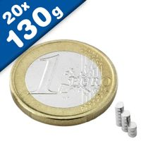Disc Magnet Ø  2 x  1mm Neodymium N50, Nickel - pull 130 g - 20 pieces