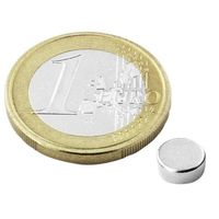 Disc Magnet Ø  6 x  2mm Neodymium N45, Nickel - pull 700 g – 10 pieces