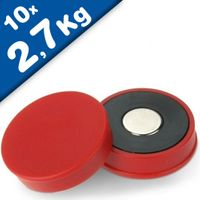 Marker/Notice Board Magnet Ø 30 x 8mm Neodymium, red - force 2,7 kg - 10 pcs.