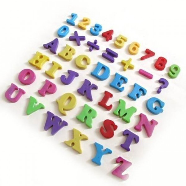 Magnetic Foam Numbers & Signs colorful 5cm high, 62 figures and 18 characters