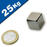 Cubo magnético 20 x 20 x 20mm Neodimio N45, Níquel – fuerza 25 kg