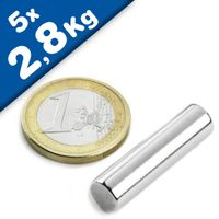 5 x Magnetic Rod Round Cylinder Magnets Ø  7 x 25 mm Neodymium N45, pull 2,8 kg