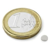 Disc Magnet Ø  4 x  1mm Neodymium N50, Nickel - pull 250 g - 20 pieces