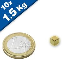 10 x Magnetic Cube  5 x  5 x  5mm Neodymium N42 (Rare Earth) Gold - pull 1,5 kg