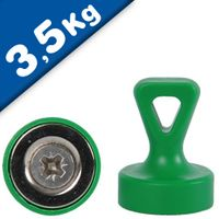 Grip magnets w/ Loop Ø 17 x 22 mm Neodymium N35 - GREEN - force: 1.6 kg-3.5 kg