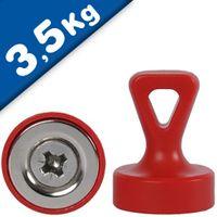 Griffmagnet mit Öse Neodym N35 - Ø 17 x 22 mm, rot - Haftkraft:1,6 kg-3,5 kg