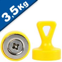 Grip magnets w/ Loop, N35 yellow, Size: Ø 17 mm x 22 mm, force: 1.6 kg-3.5 kg