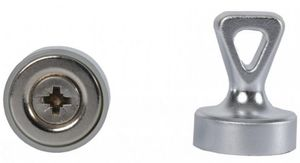 Grip magnets w/ Loop, N35 silver, Size: Ø 17 mm x 22 mm, force: 1.6 kg-3.5 kg