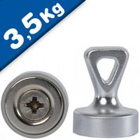 Grip magnets w/ Loop Ø 17 x 22 mm Neodymium N35 - SILVER - force: 1.6 kg-3.5 kg