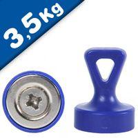Griff-Magnet mit Öse Ø 17 x 22 mm Neodym N35 - BLAU - Haftkraft: 1,6 - 3,5 kg