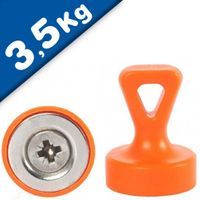 Grip magnets w/ Loop Ø 17 x 22 mm Neodymium N35 - ORANGE - force: 1.6 kg-3.5 kg