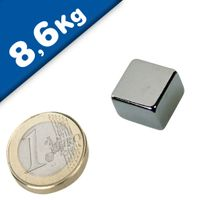 Quadermagnet Magnet-Quader  15 x  15 x  8mm Neodym N40, Nickel - hält 8,6 kg