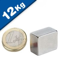 Block Magnet 18 x 15 x 10mm Neodymium N45H (Rare Earth), Nickel - pull 12 kg