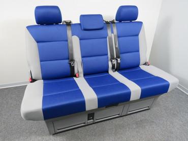 VW T5 T6 Multivan Sitzbank Rücksitzbank Schlafbank Trendline grau / blau – Bild 1