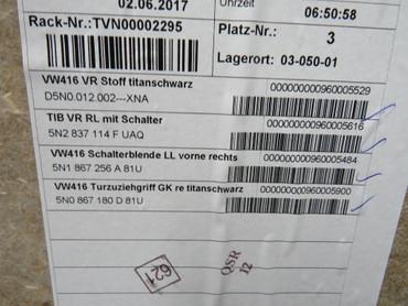 5N0867011B Original Türverkleidungen Set Stoff schwarz VW Tiguan 5N2 – Bild 9