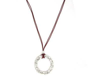 Collier im Altsilberlook - 1090-Co-C, bordeaux - nickelfrei
