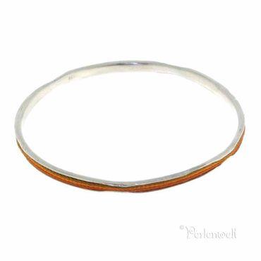 Armreif 925 Silber, schmal mit Perlseide orangerot