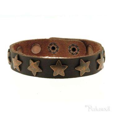 Armband Sternarmband, Leder schokobraun, Stern-Nieten in kupfer
