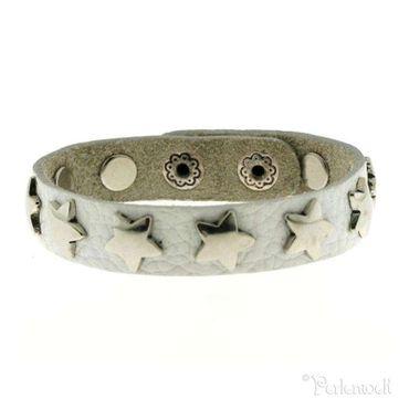 Armband Sternarmband, Leder weiß, Stern-Nieten in silber