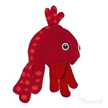 Mützen Octopus Mütze, rot-orange, handgestrickt, 100% Wolle