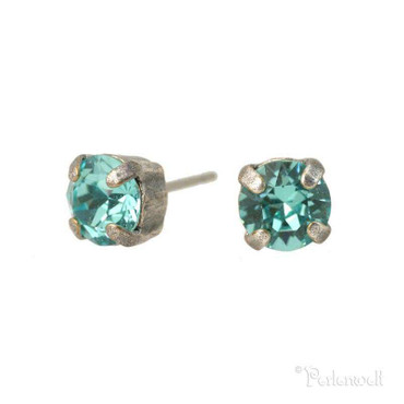 Glitzer-Ohrring 6mm Light Turquoise