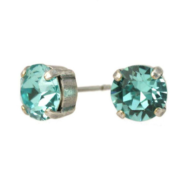 Glitzer-Ohrring 8mm Light Turquoise