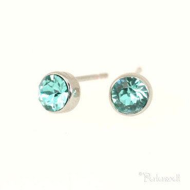 Glitzer-Ohrring 5mm Light Turquoise