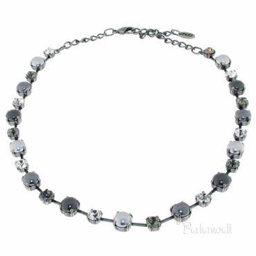 Halskette Perle/Kristall grau