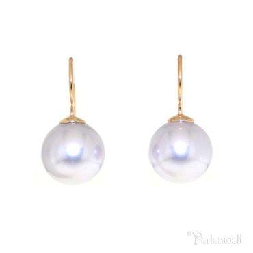 Glitzer-Ohrring Rose Gold Perle Lavender