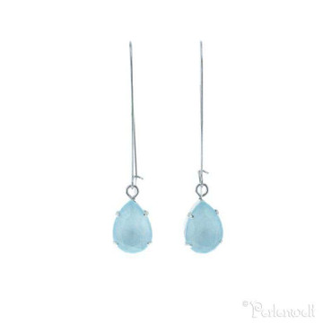 Glitzer-Ohrring Sloop Tropfen Crystal Blue