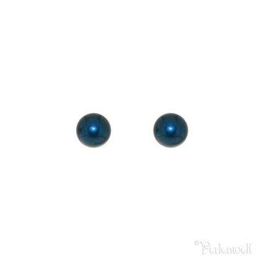 Glitzer-Ohrring Perle 6mm Petrol