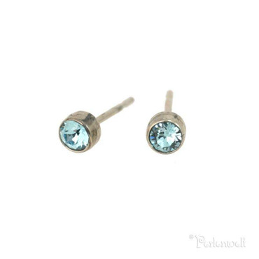 Glitzer-Ohrring 3mm Aquamarine