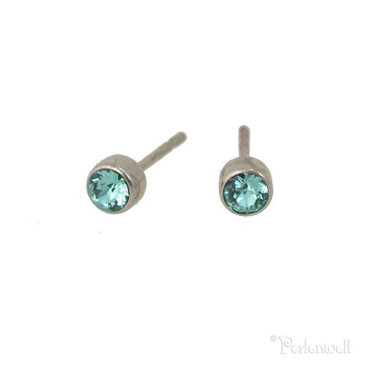 Glitzer-Ohrring 3mm Light Turquoise